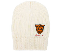 tiger embroidered knit beanie