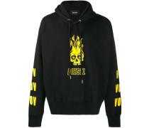 Skull logo print hoodie