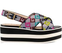 Velvet G lurex crossover platform sandal