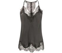 scalloped lace silk vest