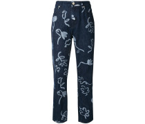 Cropped-Jeans mit Print