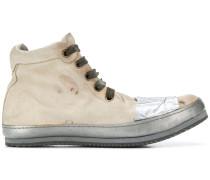 distressed high-top sneakers