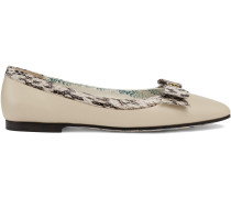 Leather ballet flats with snakeskin bow