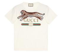 T-Shirt mit Leopardenstickerei