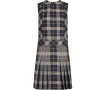 Sleeveless Pleat Detail Check Dress