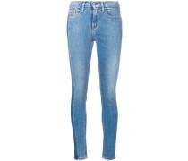 high rise vertical stripe skinny jeans