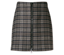 checked zip front skirt