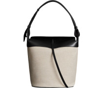 The Large Cotton Linen and Leather Bucket Bag
