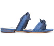 bow denim sandals