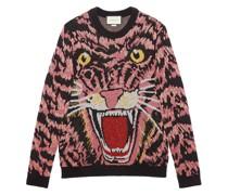 Lurex-Pullover mit Tiger