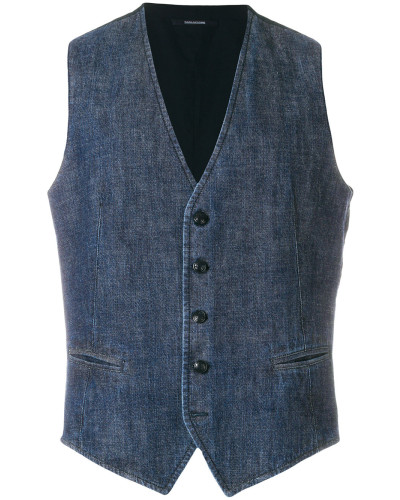 Jeansweste mit Knopfleiste