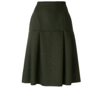 dropped hem pleated skirt