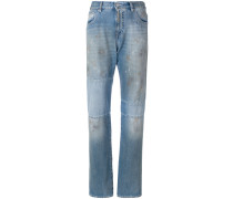 distressed panel jeans