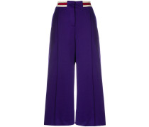 branded waistband wide-leg trousers