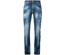 Distressed-Jeans mit Patches