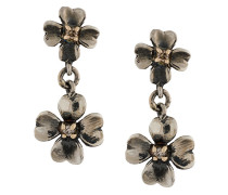 9kt gold and diamond tiny clover earrings