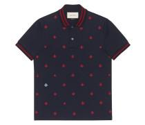 Poloshirt mit Bienen- und Sternen-Stickerei