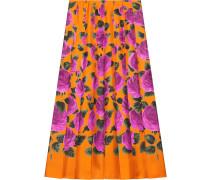 Rose Garden print silk skirt