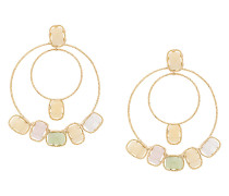 stone double hoop earrings