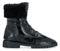 varnished lace-up boots