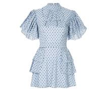 gingham frilled sleeve mini dress