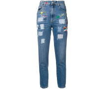 patchwork skinny jeans
