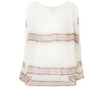 bohemian print V-neck blouse