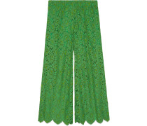 Flower lace ankle trousers