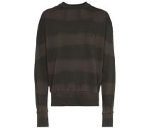 bleached stripe logo embroidered cotton sweatshirt