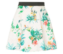 tropical-print flared mini skirt