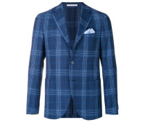 checked slim-fit jacket