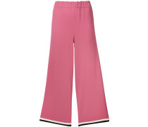 grosgrain trim cropped trousers