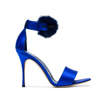 Blue Trespola 105 Satin Fur Sandals
