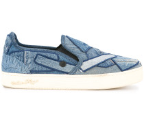 denim patchwork skate shoes