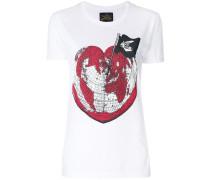 heart world print T-shirt