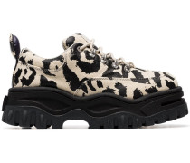 cream Angel leopard print chunky canvas sneakers