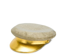 metallic brim baker boy hat