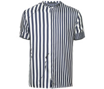 distressed-effect striped shirt