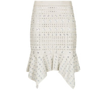 leather skirt with eyelet details