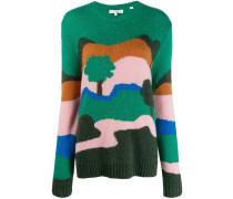 Intarsien-Pullover mit Landschaft