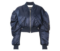 ruched sleeves bomber jacket