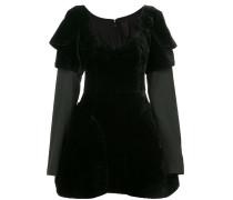 layered shoulder pads flared dress