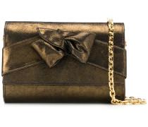 metallic bow clutch bag