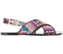 printed cross strap sandals