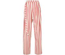 striped multi-tuck pants