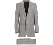 Slim Fit Prince of Wales Check Wool Cashmere Suit