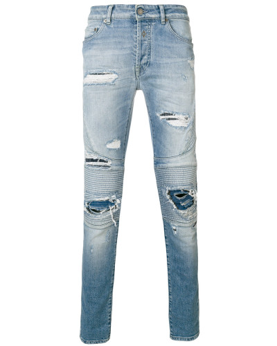 Biker-Jeans in Distressed-Optik