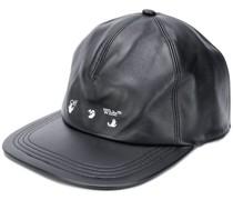OW LOGO LEATHER BASEBALL CAP BLACK WHITE