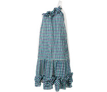 one-shoulder checked dress