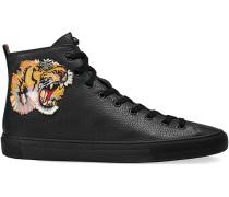 Hoher Sneaker aus Leder mit Tigermotiv